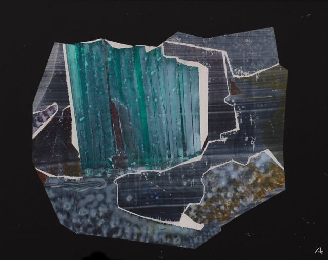Rudolf-Werner Ackermann | Raw Precious Stone | before 1968 | reverse-glass painting | monogrammed | 40 x 50