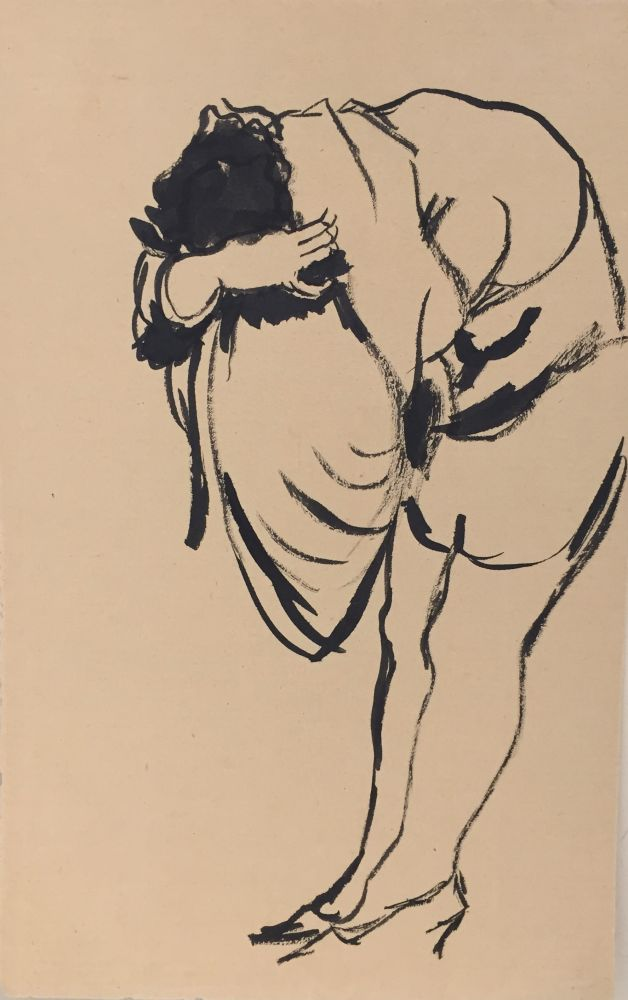 Herbert Behrens-Hangeler | Woman Undressing | 1929 | ink drawing | 23 x 14,5