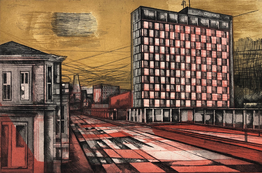 Rolf Curt | Berlin Hilton I | 1959 | coloured etching | signed, dated and titled | artist's proof | 40 x 60 cm
