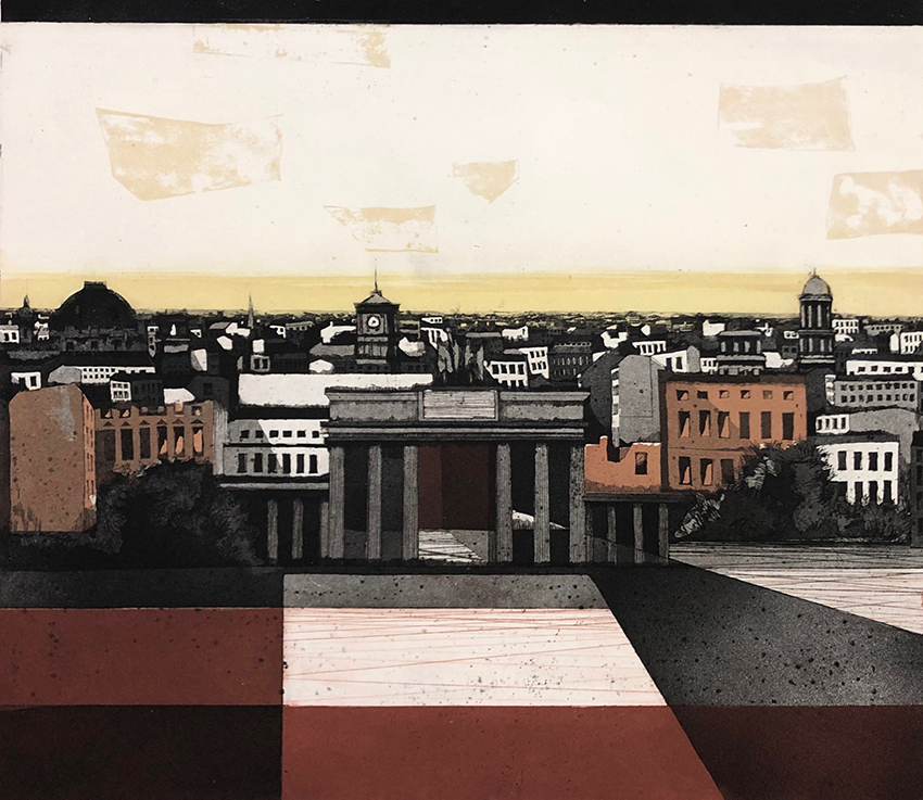Rolf Curt | Brandenburg Gate | 1977 | coloured aquatint | signed, dated and titled | edition 12/60 | 49.5 x 57 cm