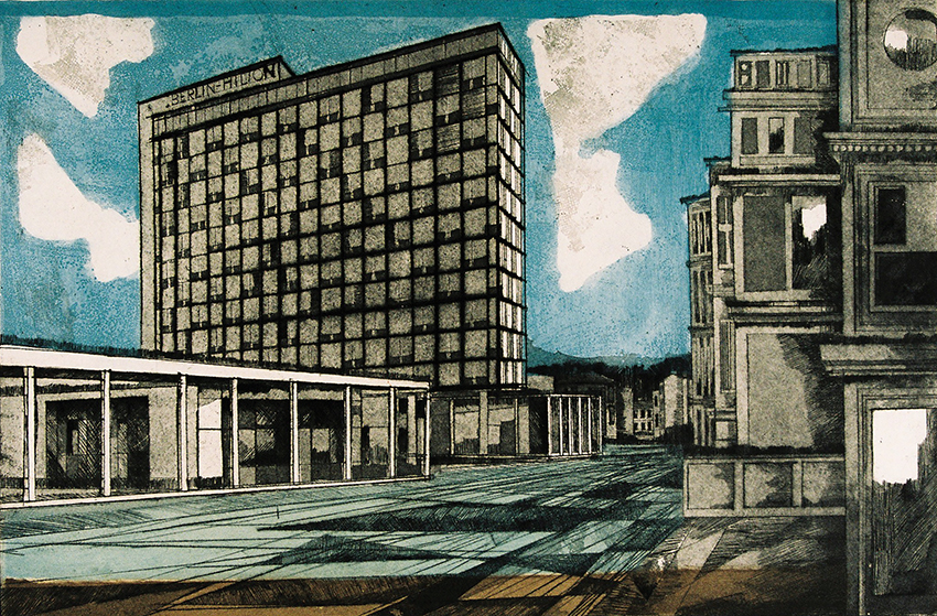 Rolf Curt | Hilton Berlin II | 1959 | coloured etching | signed, dated and titled | edition 9/30 | 40 x 60 cm