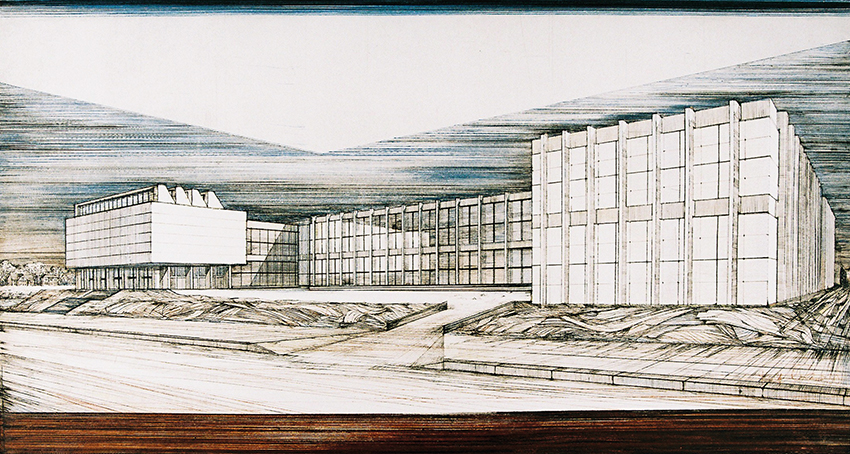 Rolf Curt | Museum Dahlem | 1980 | coloured etching | signed, dated and titled | artist's proof | 47 x 86 cm