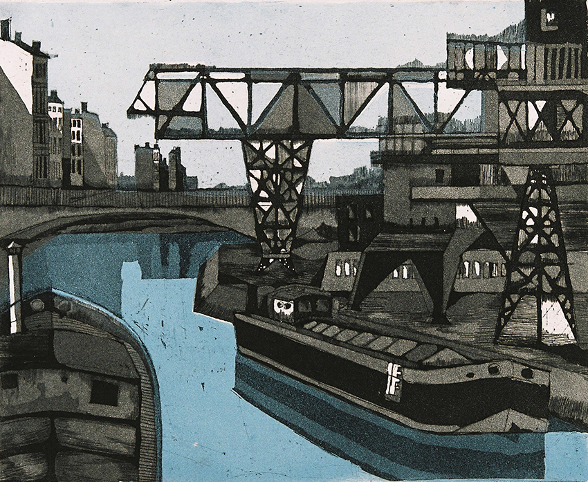 Rolf Curt | West Harbor Berlin | 1957 | coloured aquatint | signed, dated and titled | edition 6/70 | 25 x 30 cm