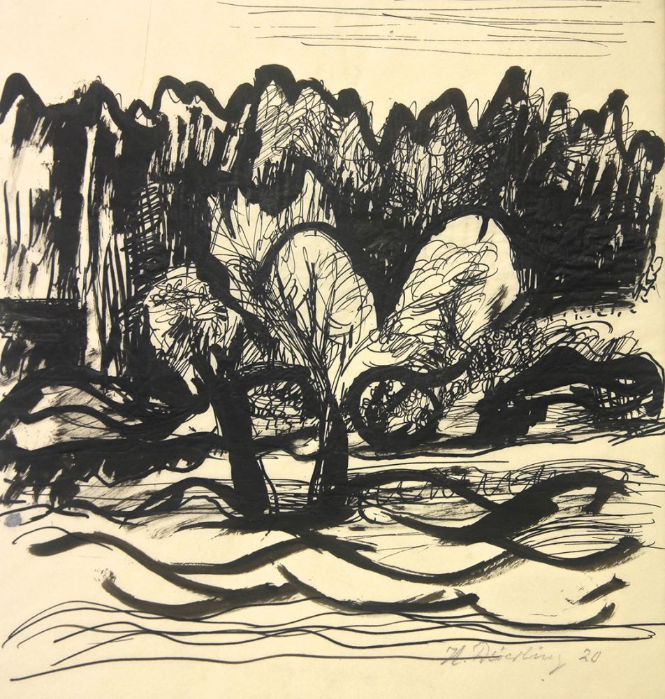 Heinrich Harry Deierling | Landscape | 1920 | india ink on tracing paper | signed and dated | 33.9 x 26.5