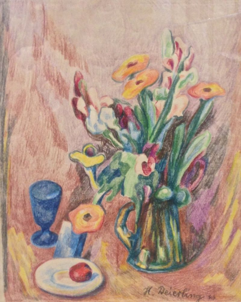 Heinrich Harry Deierling | Still Life | 1944 | crayon on rag paper | signed and dated | 30.4 x 24.3