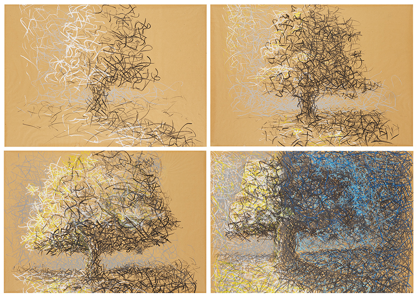 Dieter Finke | Seasons | 1975 | crayon on paper | signed and dated | 238 x 168 cm