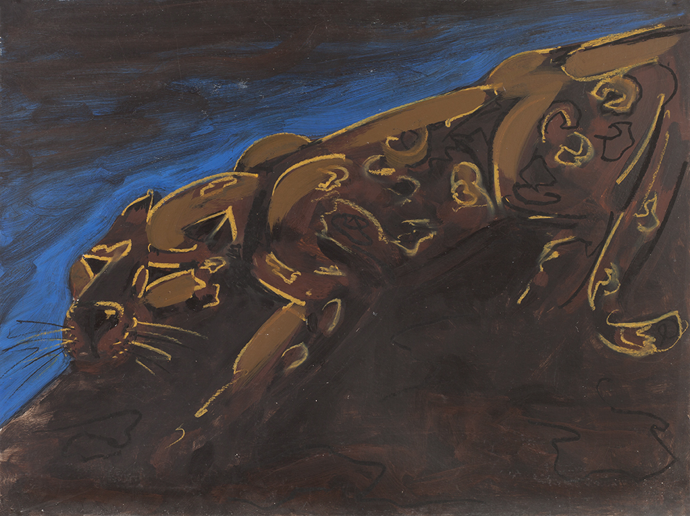 Dieter Finke | Leopard | 1980s | oil crayon and acrylic on cardboard | verso estate stamp | 77 x 102 cm
