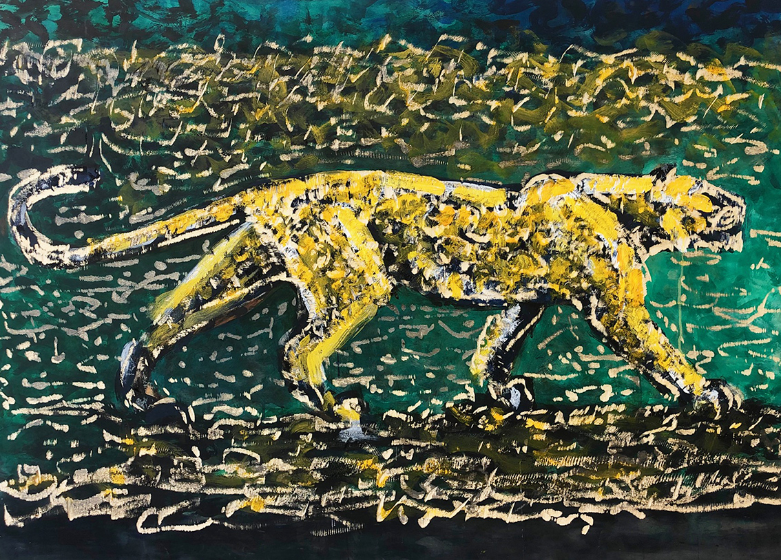Dieter Finke | Untitled (Leopard) | about 2010 | acrylic and wood engraving | 115 x 154 cm