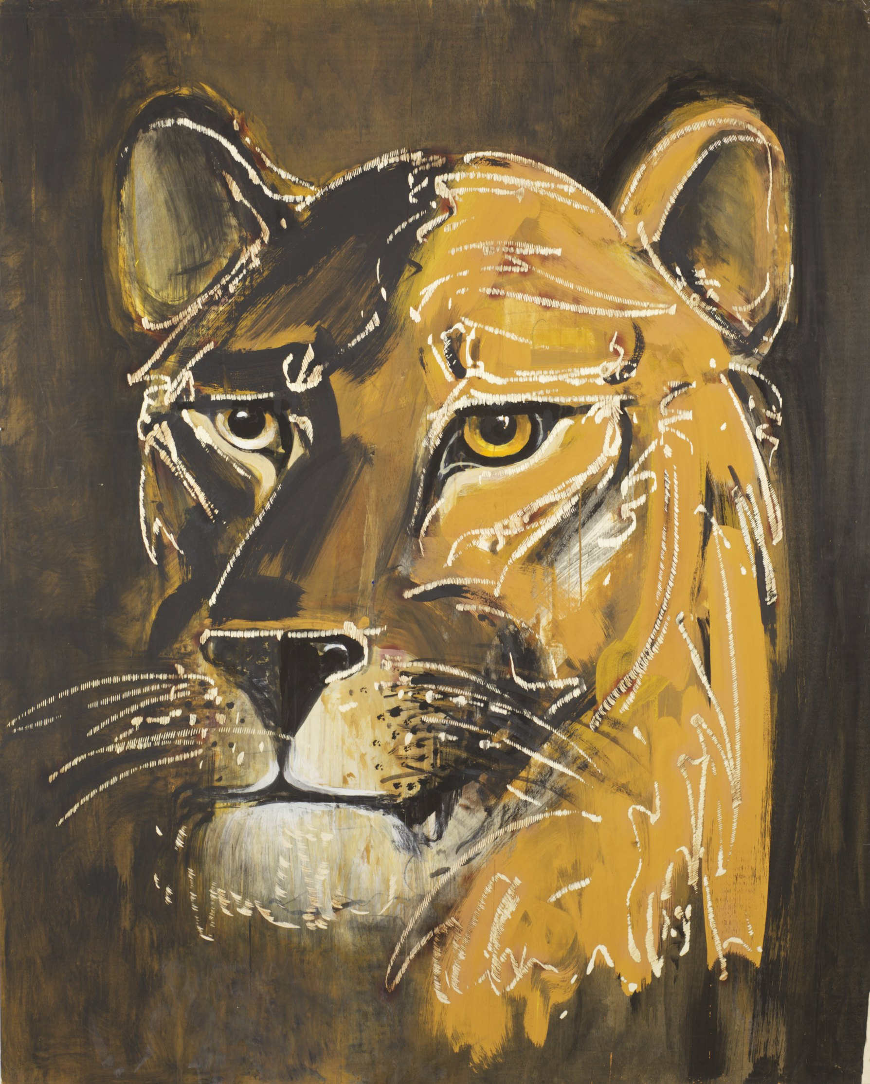 Dieter Finke | Untitled (Lioness) | about 2000 | acrylic and wood engraving | 204 x 164 cm
