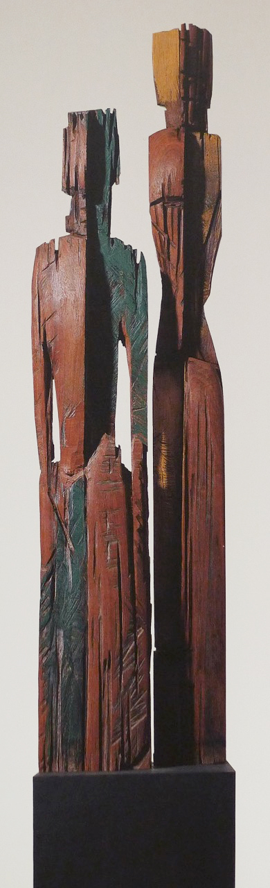 Dieter Finke | Pyramus and Thisbe | 1993 | wood |  243 x 50 x 25 cm