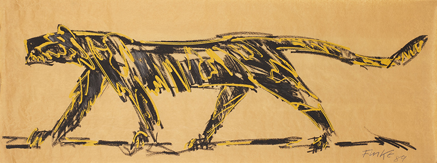 Dieter Finke | Tiger | 1989 | crayon on paper | signed and dated | 76.5 x 199 cm