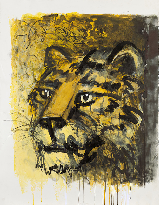 Dieter Finke | Tiger | about 2000 | acylic on paper | estate stamp | 127 x 98 cm