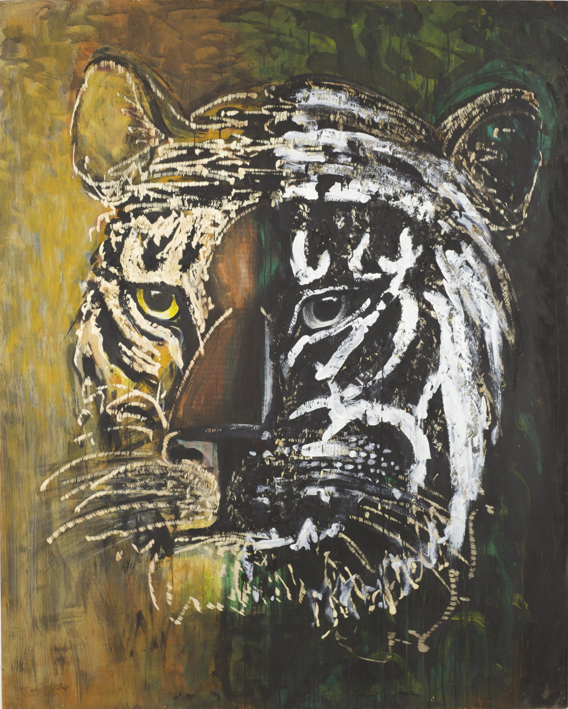 Dieter Finke | Untitled (Tiger) | about 2000 | acrylic and wood engraving | 204 x 164 cm