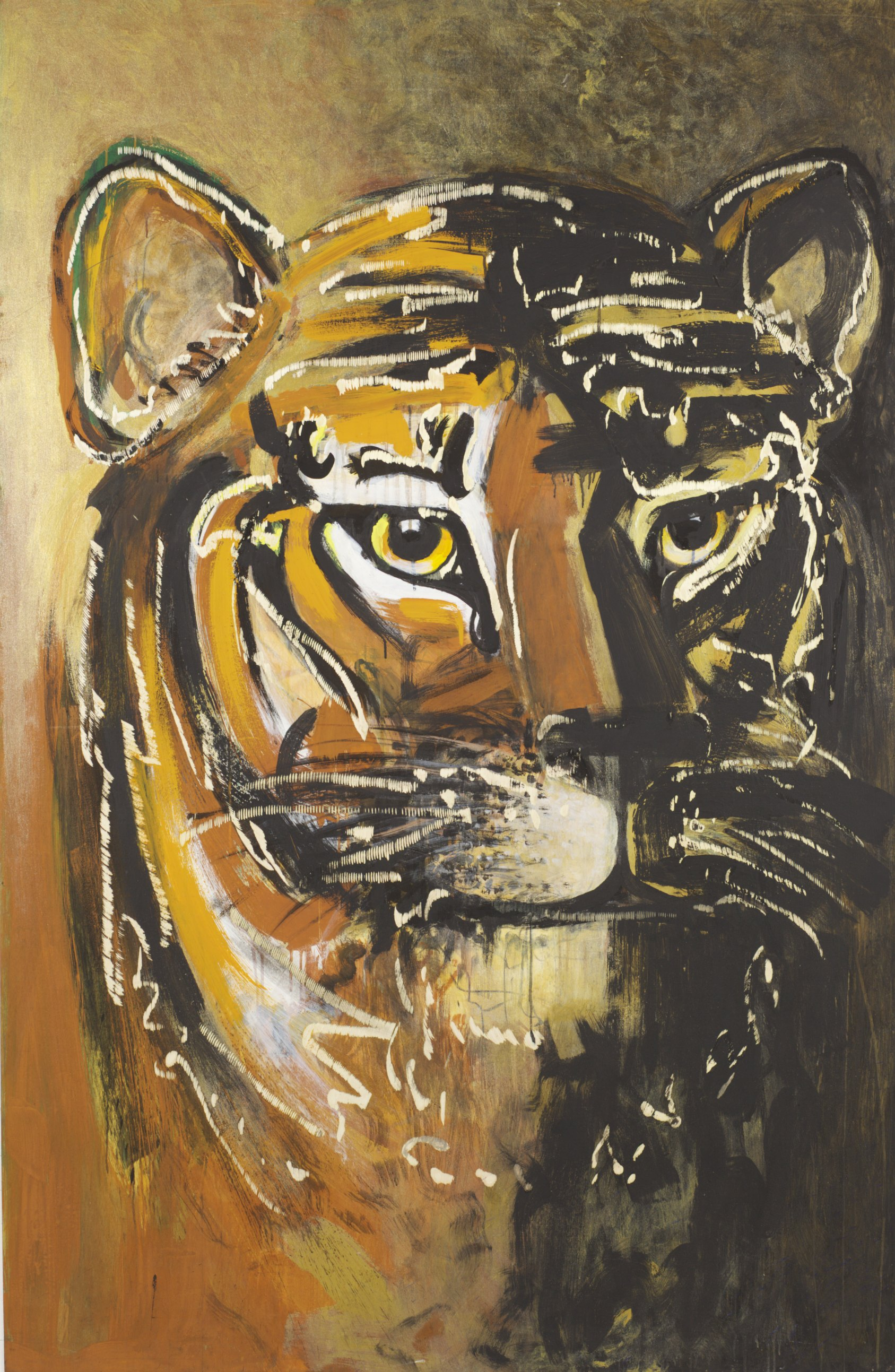 Dieter Finke | Untitled (Tiger) | about 2000 | acrylic and wood engraving | 204 x 134 cm