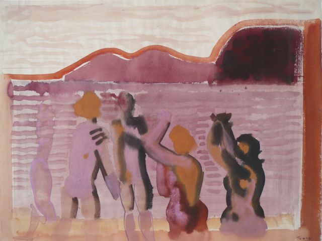 Edvard Frank | Bathers at the sea | 1953 | watercolour | signed, dated, verso signed, dated and titled | 50.2 x 62.5 cm