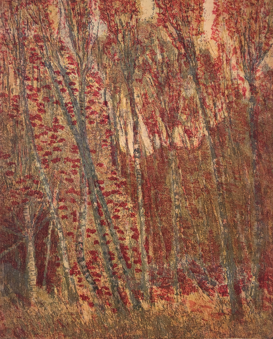 Anna Gerresheim | Autumn Forest | about 1890 | etching in three colours | signed | 23.3 x 19 cm