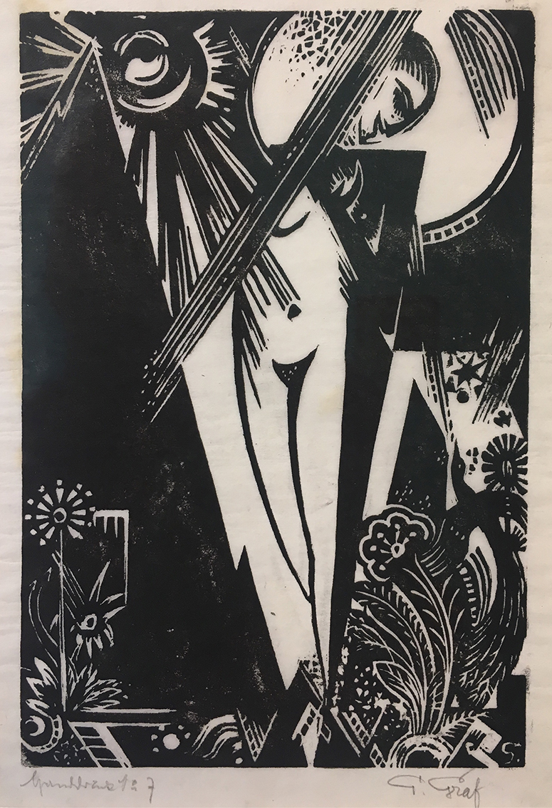 Gottfried Graf | Girl with Bird of Paradise | 1918 | woodcut on japanese paper, print 1/7 | signed | 26.5 x 18.5 cm