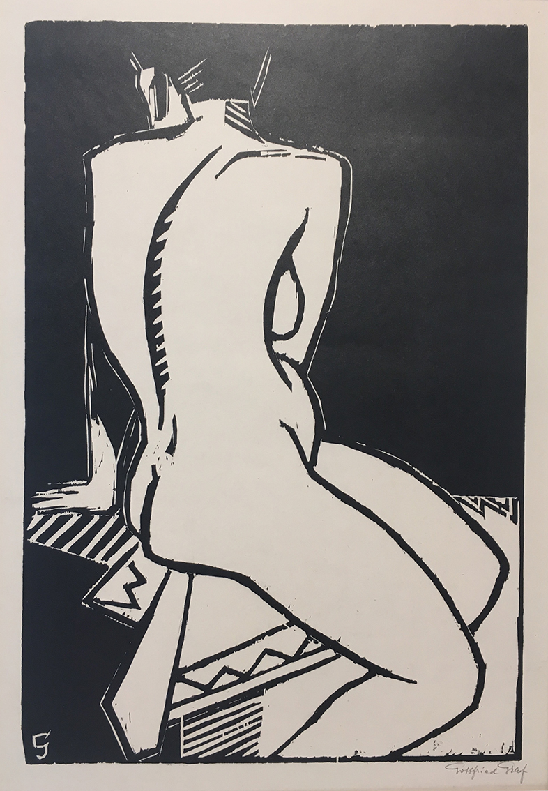 Gottfried Graf | Sitting Nude | 1924 | wood cut | signed | 75.5 x 50.5 cm