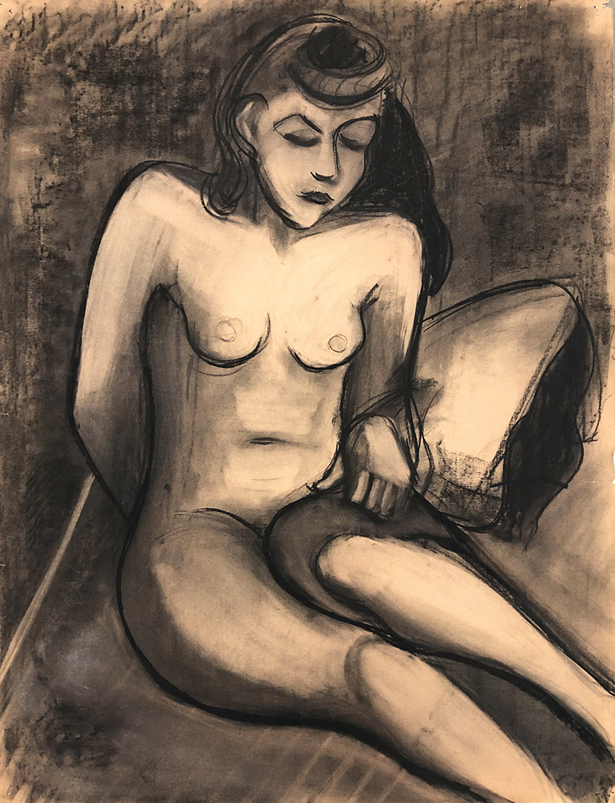 Iris Hahs-Hoffstetter | Nude on the Sofa | 1930s | charcoal drawing | verso titled | 75 x 58 cm
