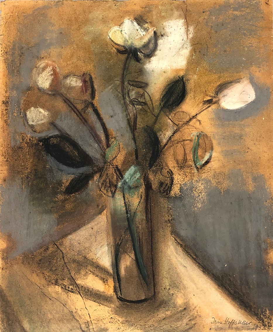 Iris Hahs-Hoffstetter | Roses in a Glass | 1932 | pastels and charcoal | signed, dated and verso titled | 50 x 41 cm