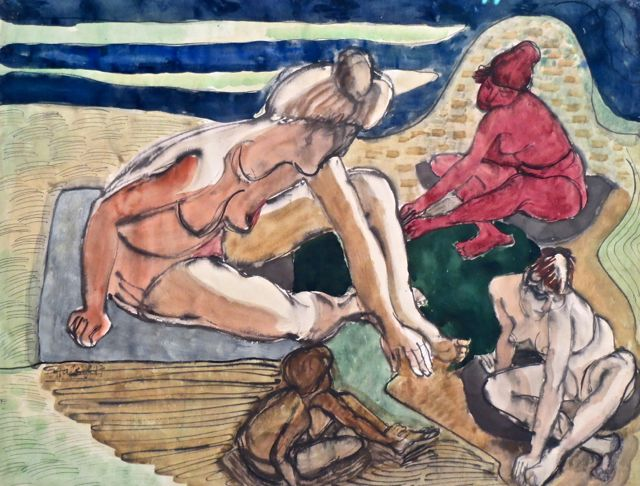 Erwin Hahs | On The Beach | 1947 | watercolour and ink | signed and dated | 58 x 75
