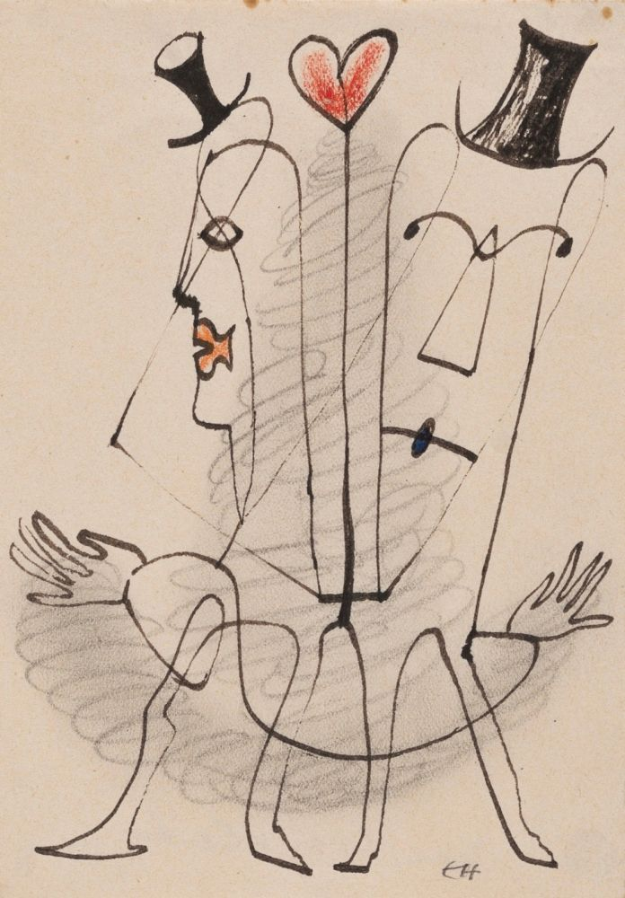 Erwin Hahs | The Couplet | 1950 | ink drawing, graphite and pencil | monogrammed and dated | 14,5 x 11,5