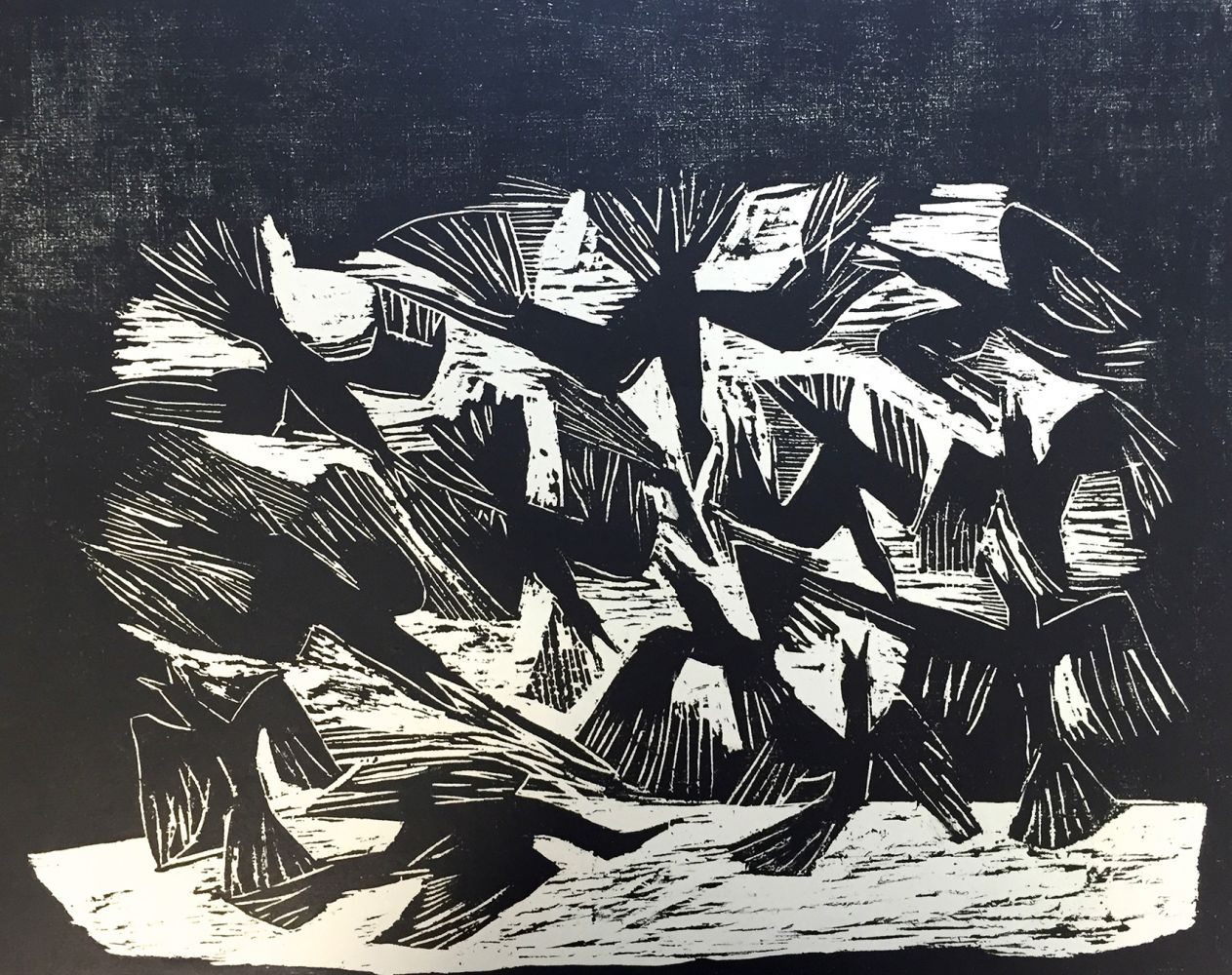 Erwin Hahs | The Hungry | 1960 | woodcut | signed, dated and titled | 49,5 x 39,5