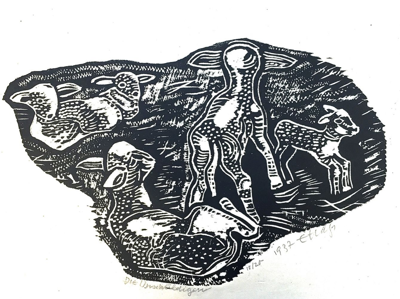 Erwin Hahs | The Innocent | 1937 | woodcut | signed, dated and titled | 34,5 x 49