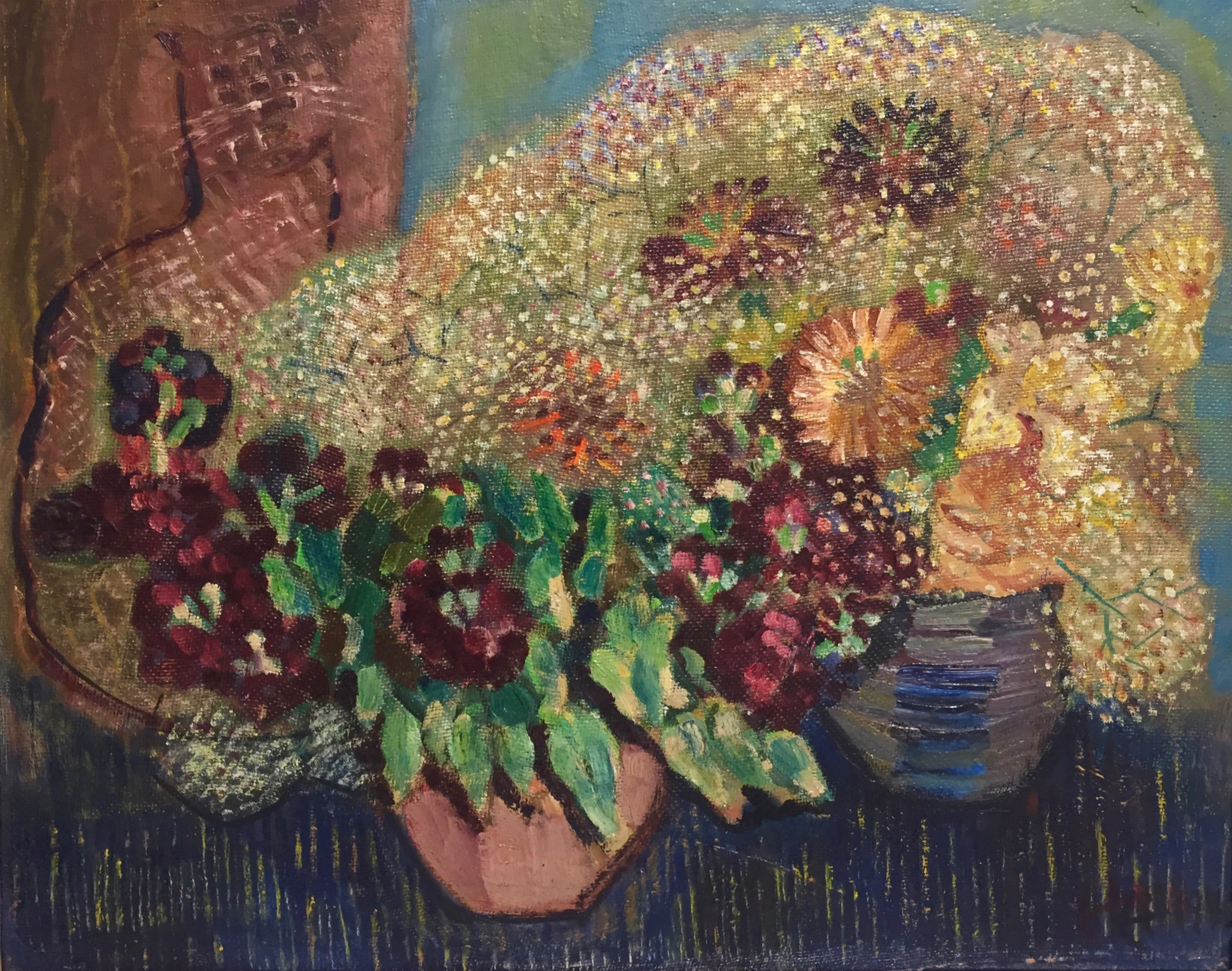 Erwin Hahs | Zinnias with Cat | 1940 | oil on hardboard | monogrammed and dated | 50 x 61.3