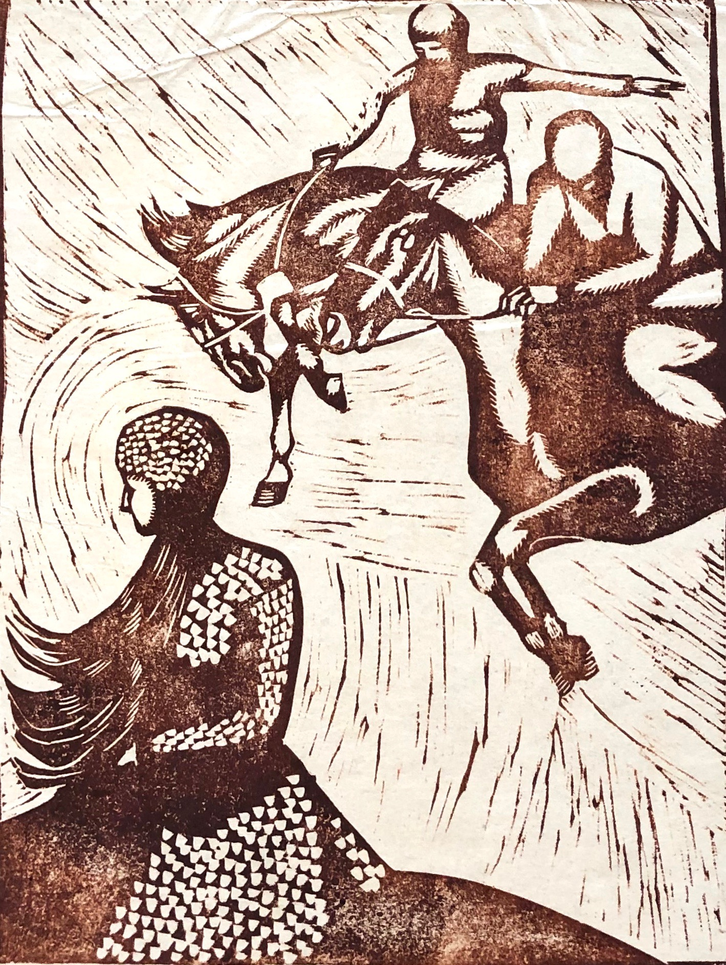 Maria Heckert-Fechner | Valkyrie Ride | 1925 | linocut | signed, dated, titled and described | 29 x 22 cm