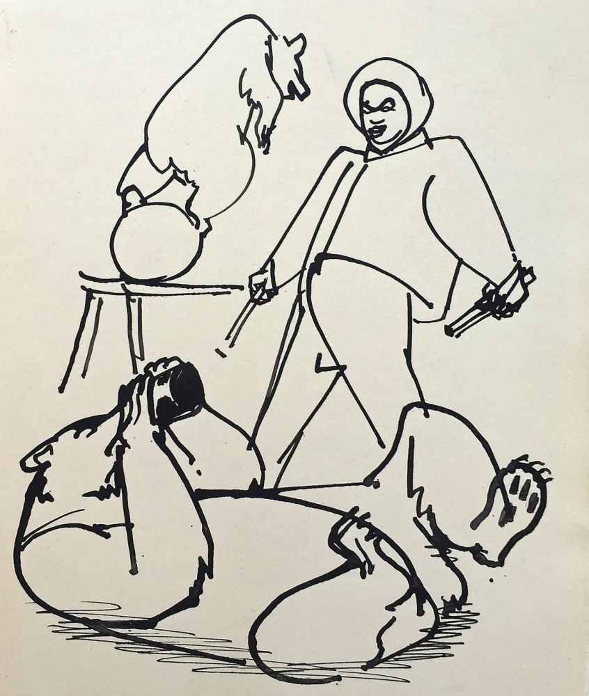 Josef Hegenbarth | Bears Training | drawing ink | verso titled | 21 x 17,4