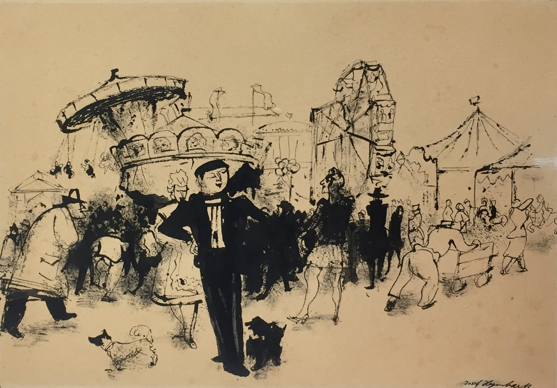 Josef Hegenbarth | Carnival | ink | Indian ink | signed | 20.5 x 30