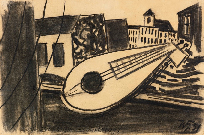 Werner Heldt | Window View with Mandolin | 1951 | charcoal on paper | monogrammed and dated | 50 x 75 cm