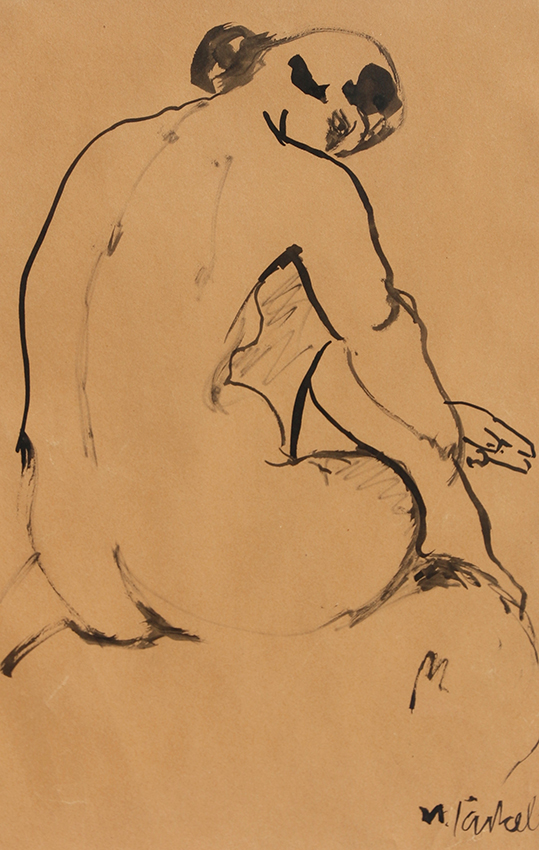Willy Jaeckel | Female back act | around 1916 | ink on paper | signed | 41.7 x 26.5 cm