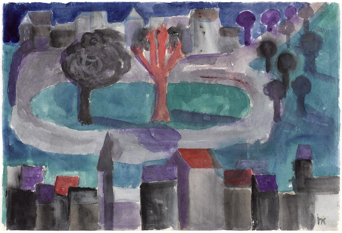 Ida Kerkovius | Cityscape | 1949 | watercolour on Japan paper | monogrammed, verso signed and dated | 31.8 x 45.5