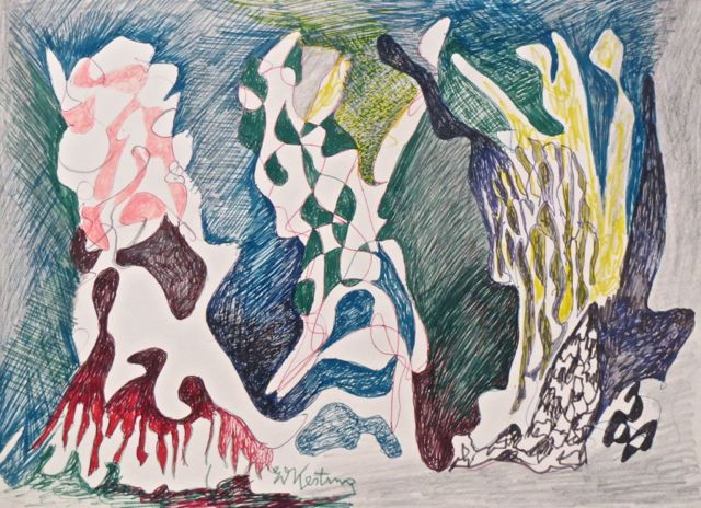 Edmund Kesting | Three Moving Trees | about 1967 | felt pencil, ball-point pencil and pencil on cardboard | signed | 30 x 43