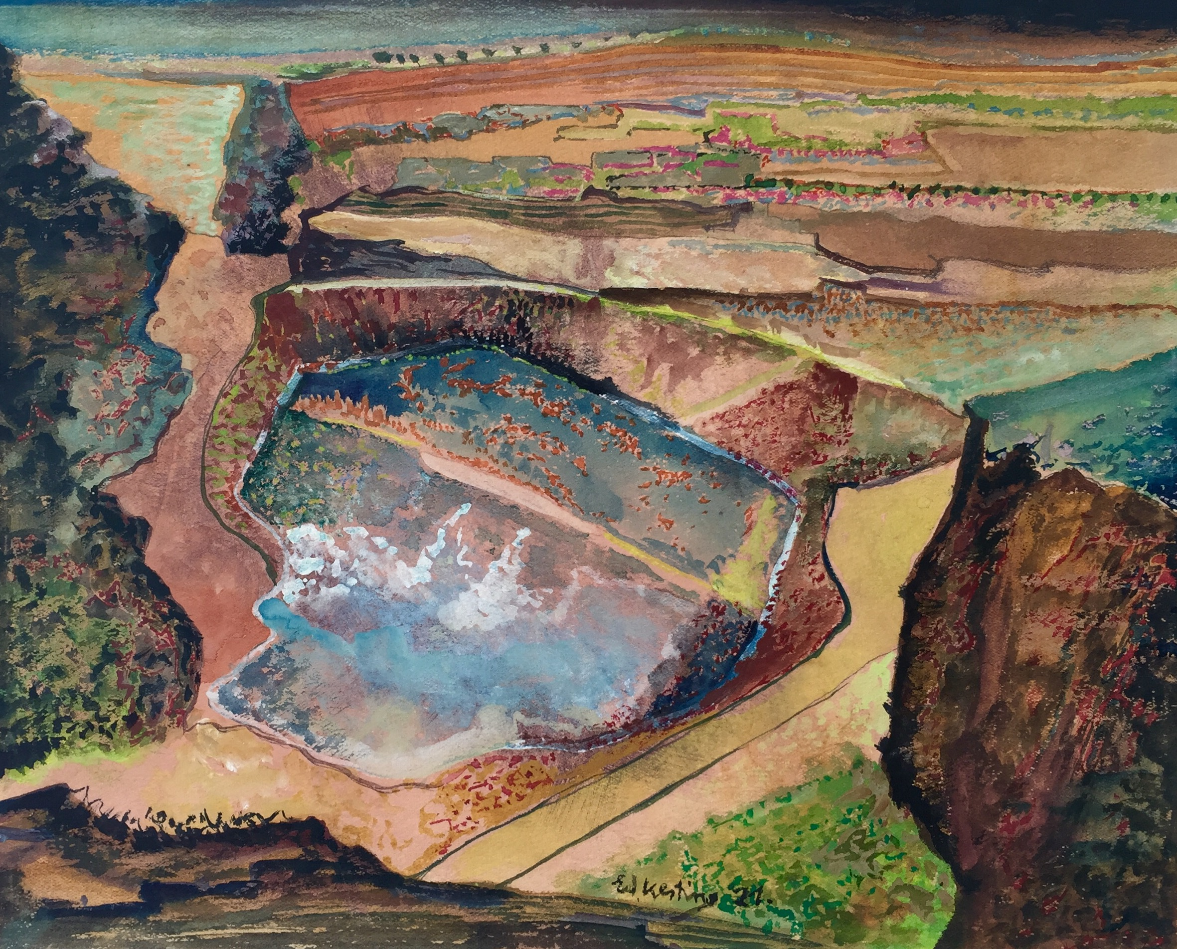 Edmund Kesting | Gravel Pit | 1921 | opaque white on carton | signed and dated | 24 x 30