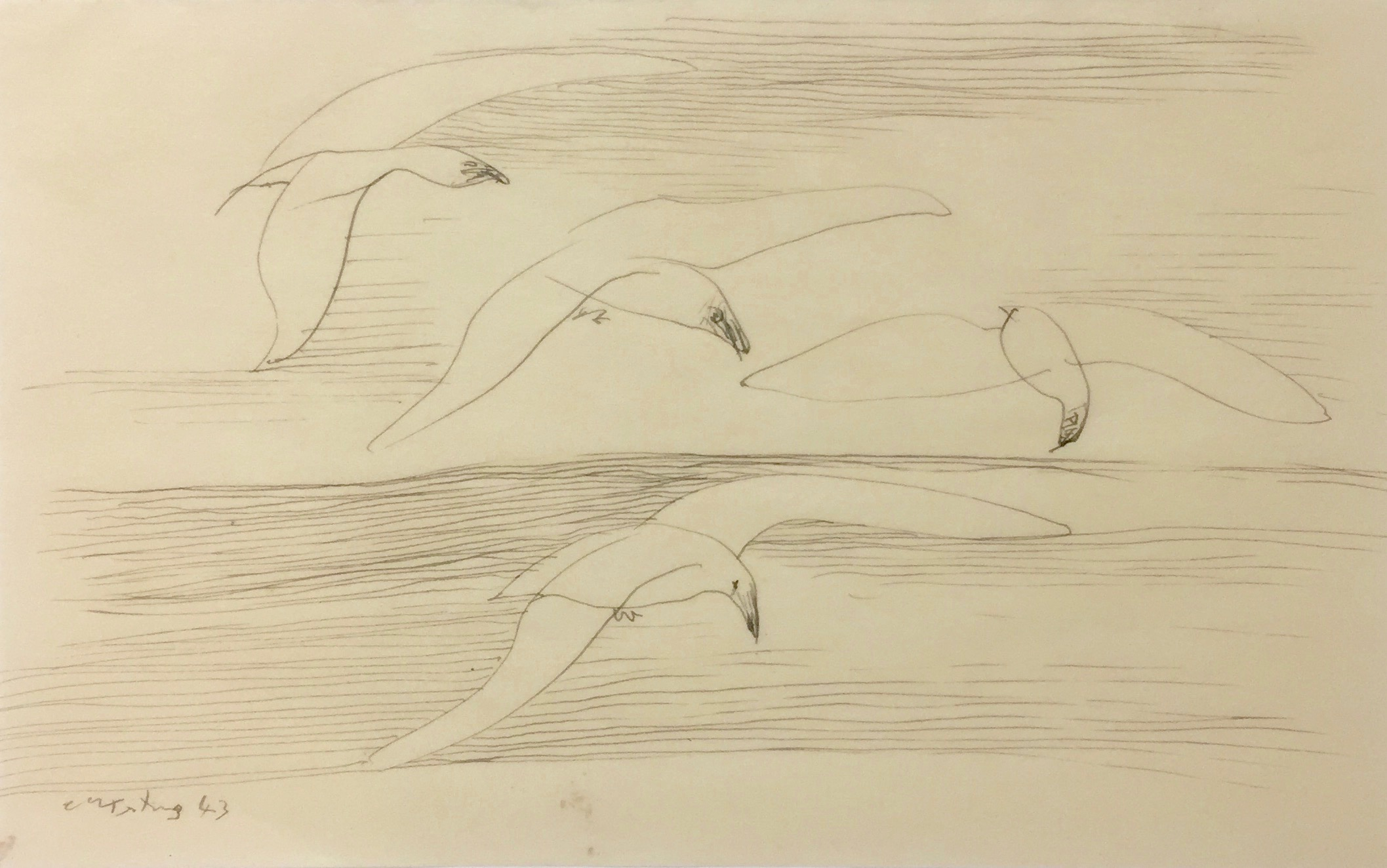 Edmund Kesting | Flying Seagulls | 1943 | ink | signed and dated | 11.5 x 20