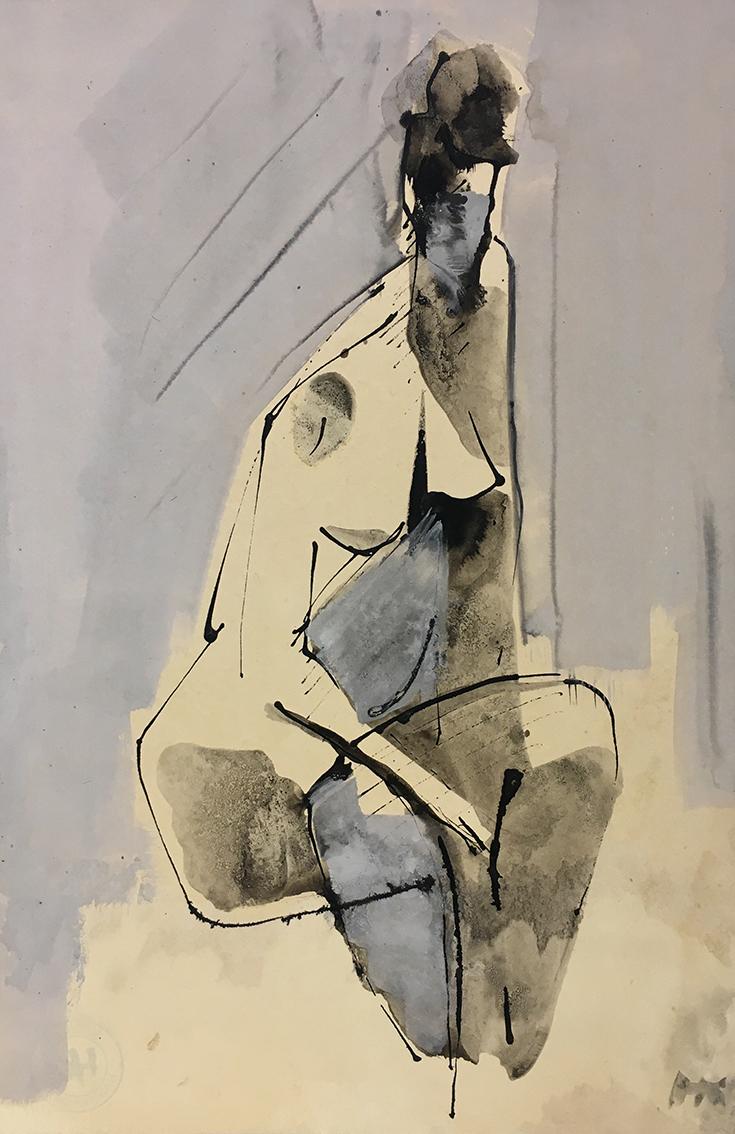 Hans Kinder | Untitled (Female Nude) | 1965 | ink and tempera | monogrammed | 42.1 x 29.6 cm
