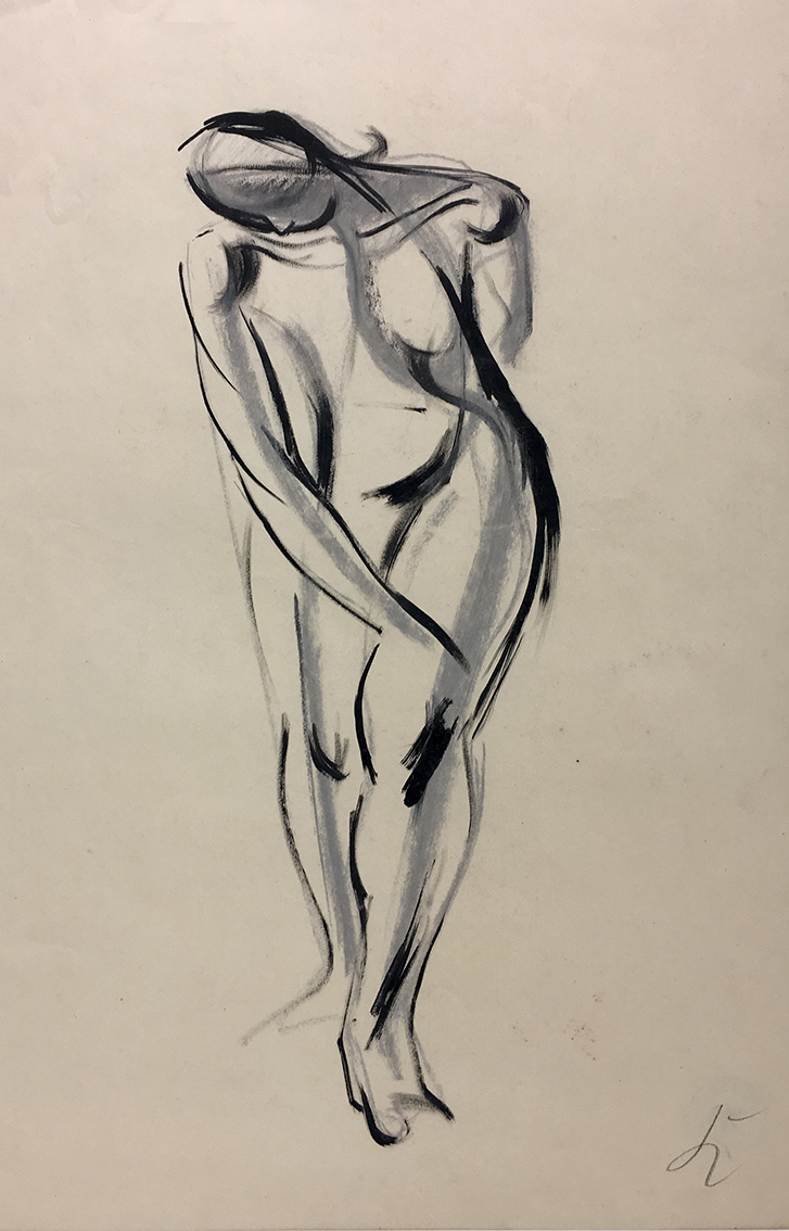 Hans Kinder | o.T. (Standing Nude) | about 1950 | ink, back chalk and tempera | monogrammed | 61.2 x 42.8 cm