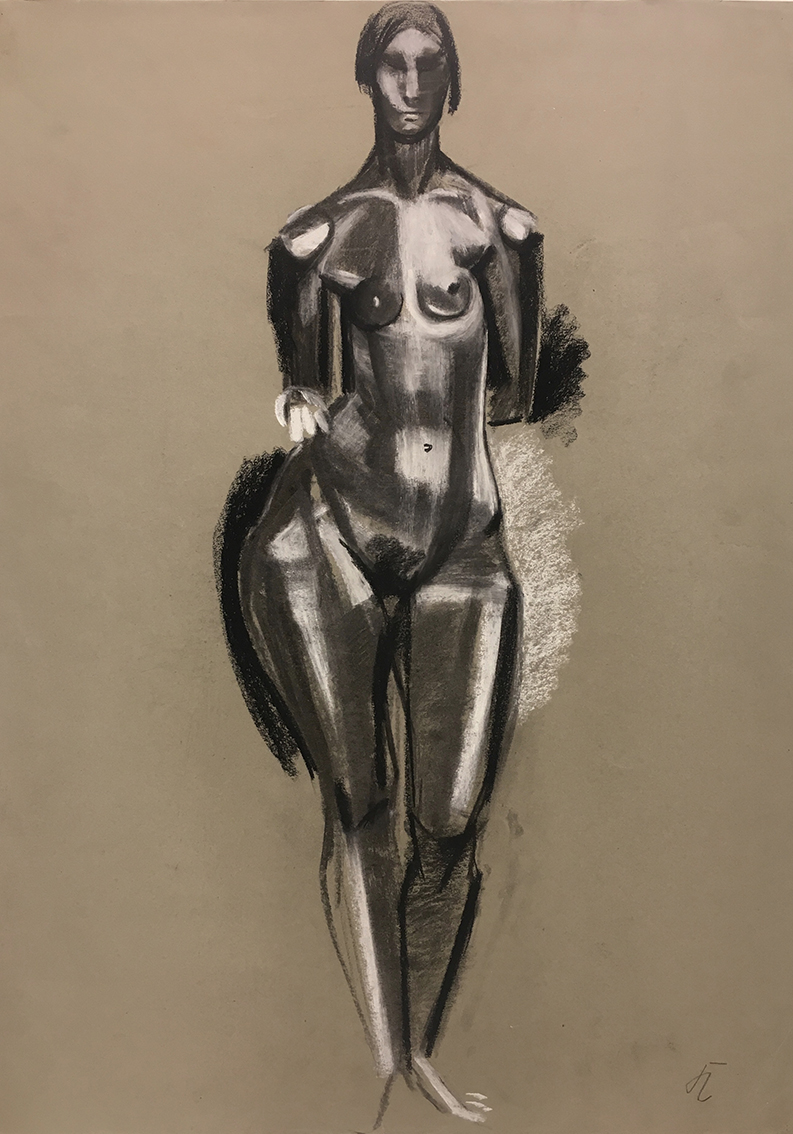 Hans Kinder | Untitled (Standing Female Nude) | about 1930 | charcoal and white chalk | monogrammed | 74.6 x 55 cm
