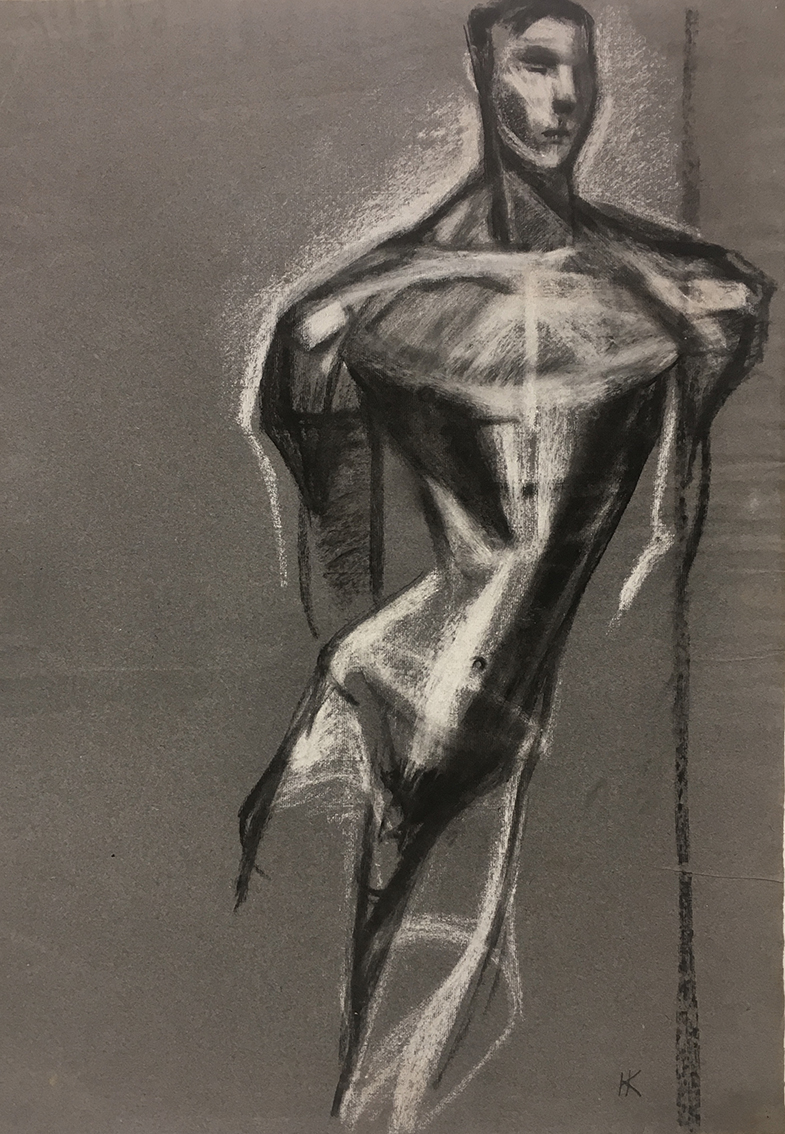 Hans Kinder | Untitled (Standing Male Nude) | about 1930 | charcoal and white chalk | monogrammed | 60 x 46,2 cm