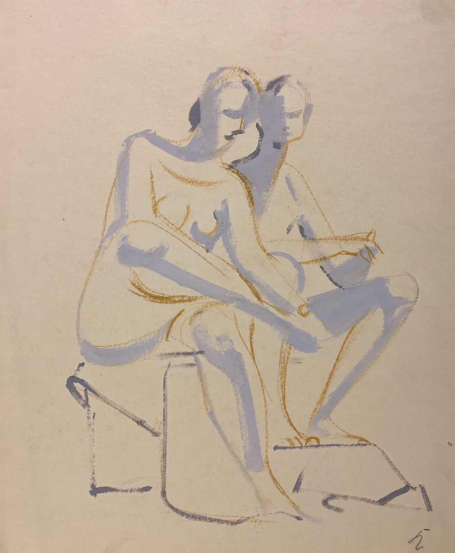 Hans Kinder | Untitled (Sitting Female Nudes) | about 1950-55 | tempera and crayon | monogrammed | 54.2 x 44.5 cm