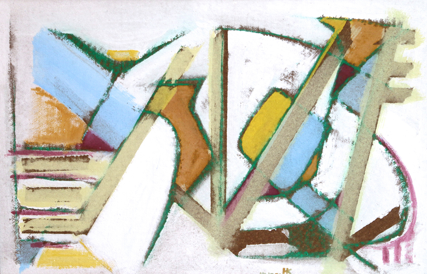 Hans Kinder | Reflection | 1953 | mixed media on cardboard | monogrammed and dated | 53 x 82