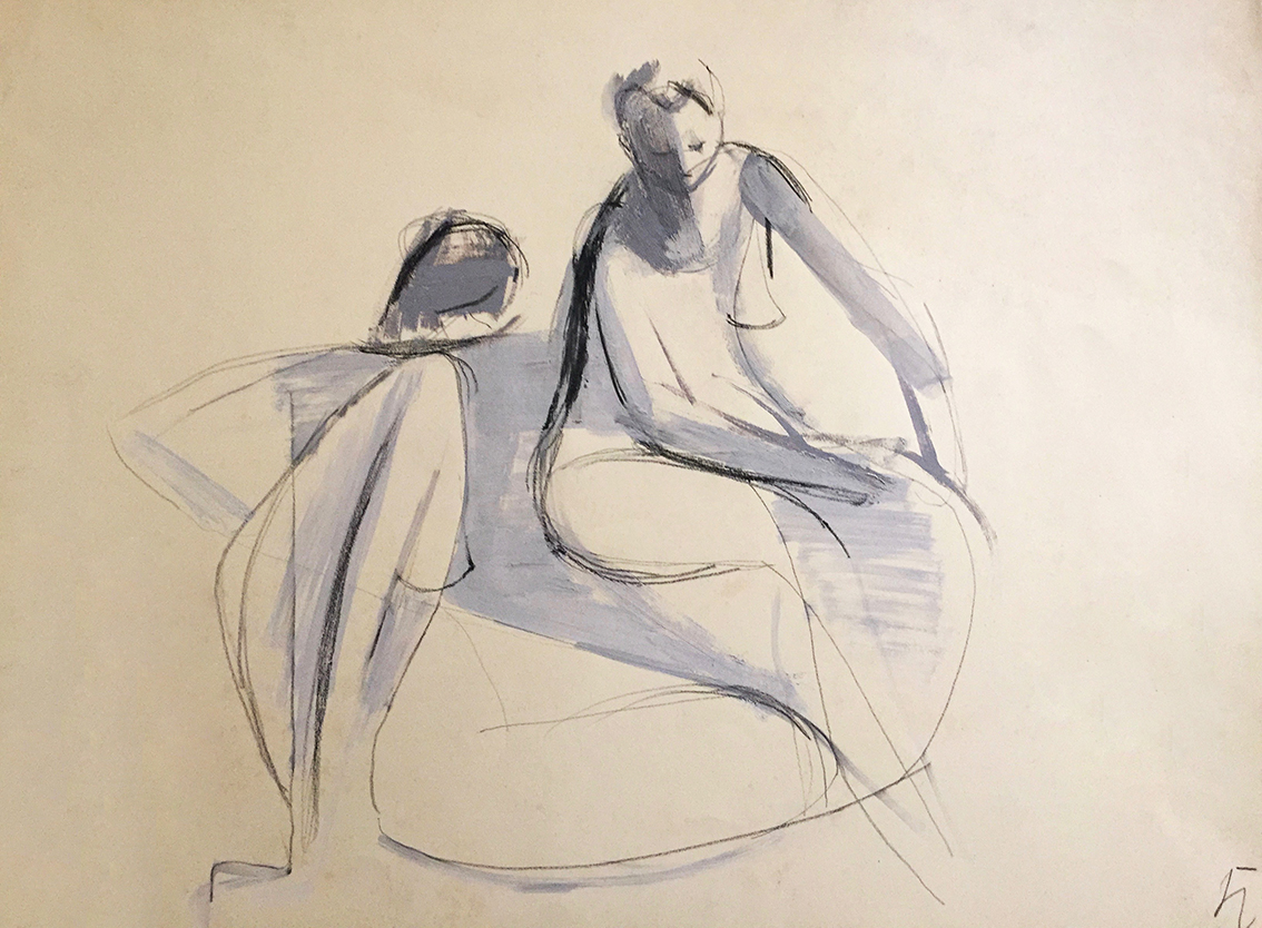 Hans Kinder | Untitled (Female Nudes) | 1957 | black chalk and tempera | monogrammed and verso dated | 37.7 x 50.2 cm