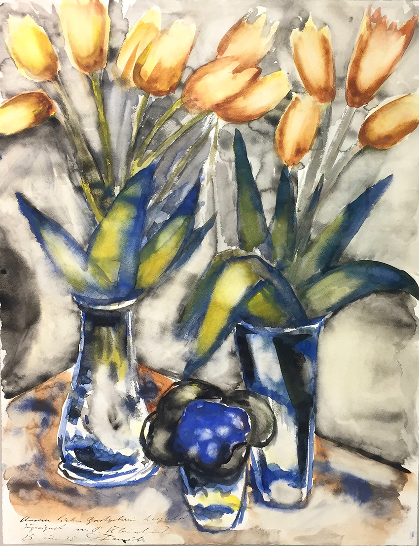Paul Kleinschmidt | Yellow tulips | 1935 | watercolour | signed, dated and dedicated | 64 x 41 cm