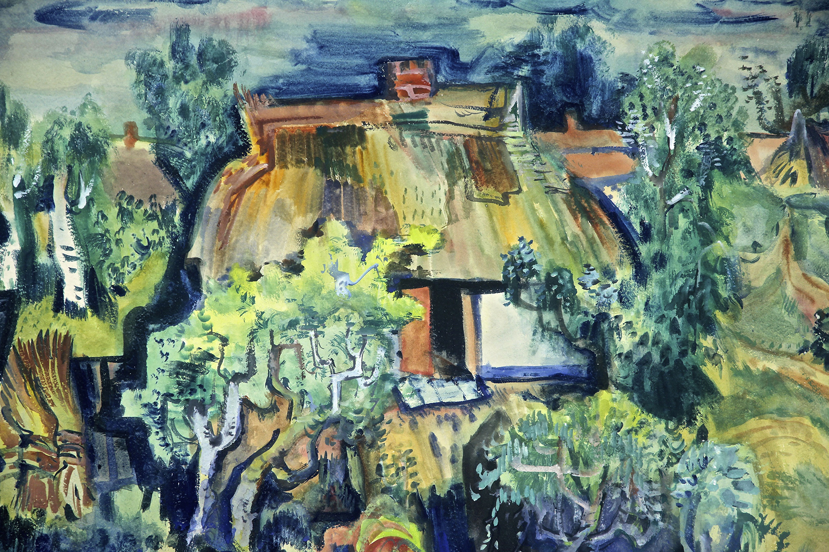 Paul Kuhfuss | Thatched House | about 1943 | tempera | signed | 61 x 73.5