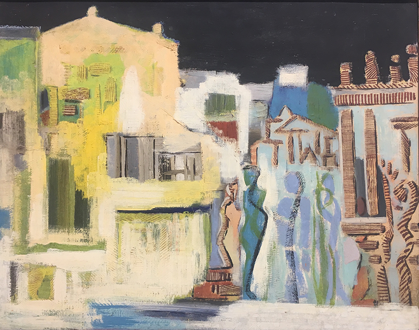 Fritz Kuhr | Architectural Modernization | 1948 | oil on cardboard| work no. 4053 | 40 x 51 cm