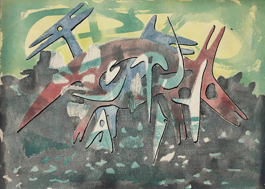 Fritz Kuhr | Animals in The Zoo | 1954 | watercolor on paper | work no. 4269 | 12.6 x 17.6 cm