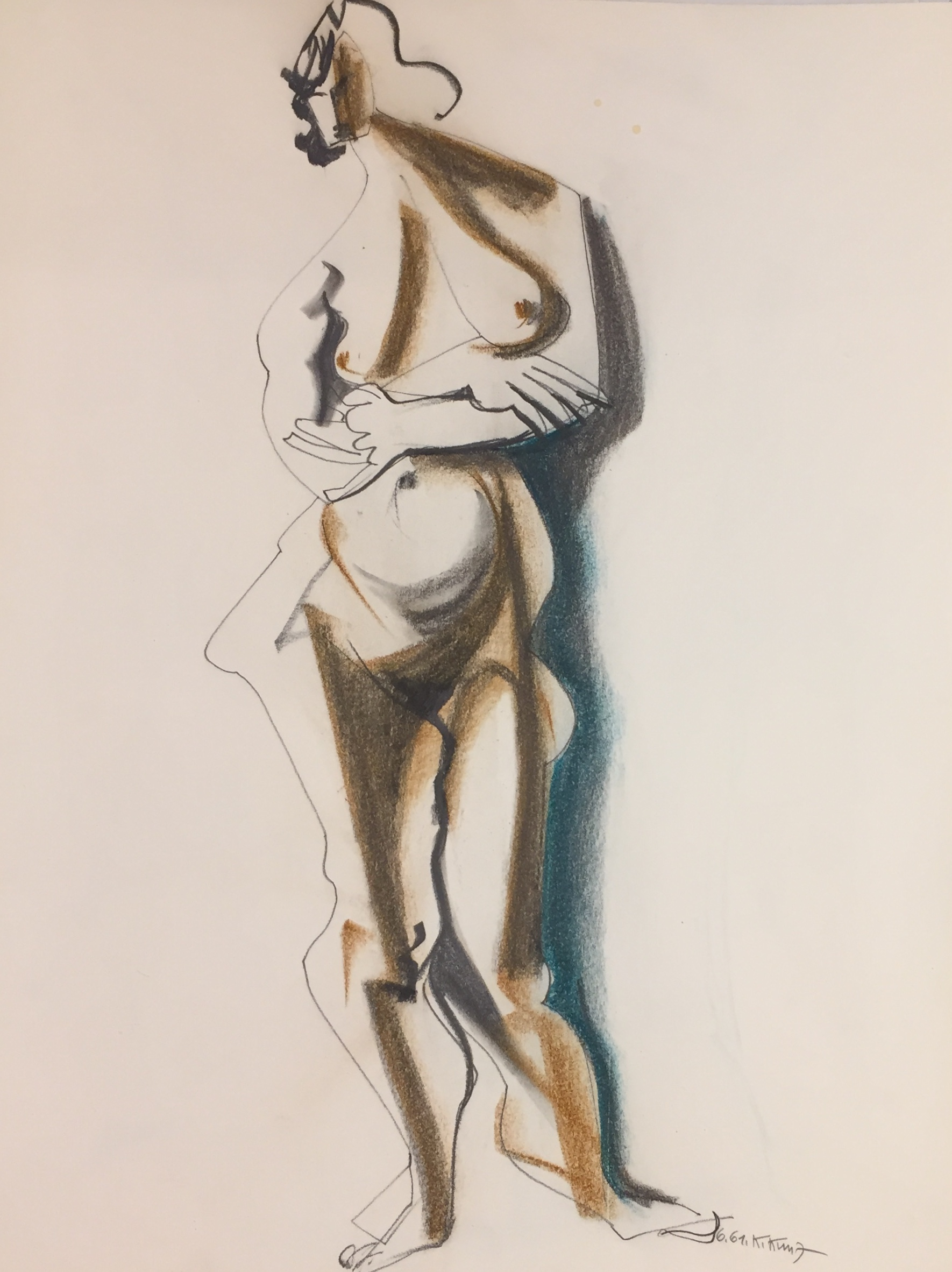 Karl Kunz | Nude | 1961 | pencil, charcoal and pastel | signed and dated | 65 x 50 cm